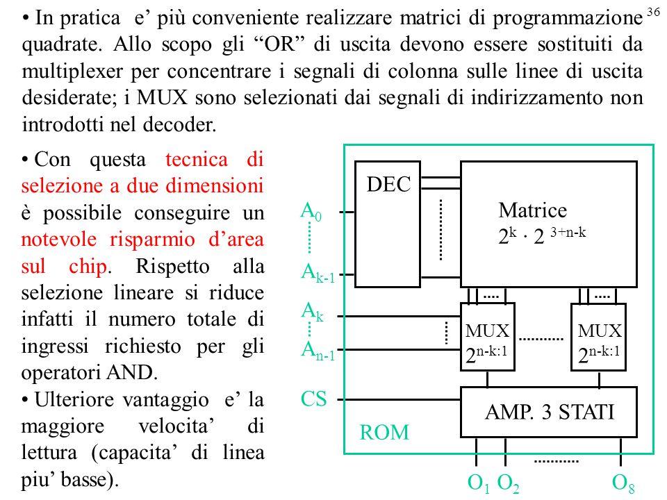In pratica e' più conveniente realizzare matrici di programmazione quadrate. Allo scopo gli OR di uscita devono essere sostituiti da multiplexer per concentrare i segnali di colonna sulle linee di uscita desiderate; i MUX sono selezionati dai segnali di indirizzamento non introdotti nel decoder.