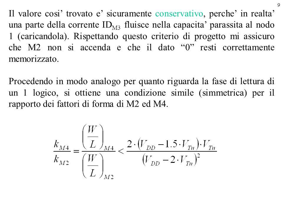 Il valore cosi' trovato e' sicuramente conservativo, perche' in realta' una parte della corrente IDM3 fluisce nella capacita' parassita al nodo 1 (caricandola). Rispettando questo criterio di progetto mi assicuro che M2 non si accenda e che il dato 0 resti correttamente memorizzato.