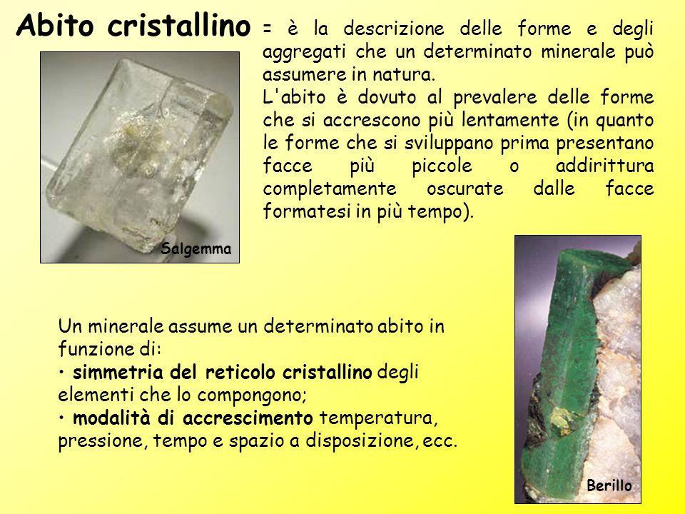 Abito cristallino = è la descrizione delle forme e degli aggregati che un determinato minerale può assumere in natura.