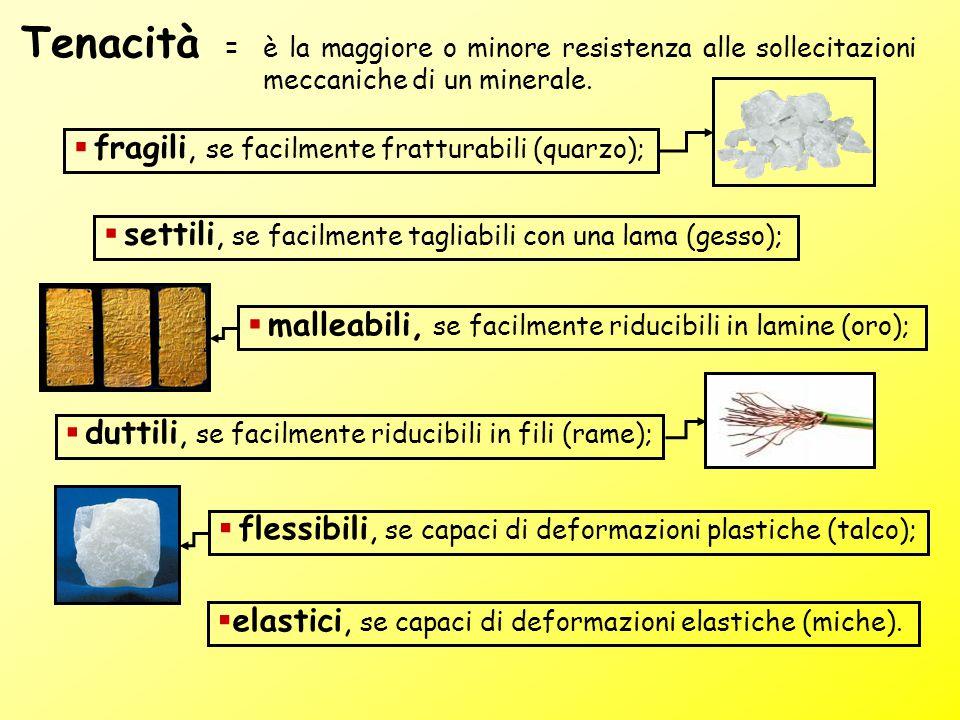 Tenacità fragili, se facilmente fratturabili (quarzo);