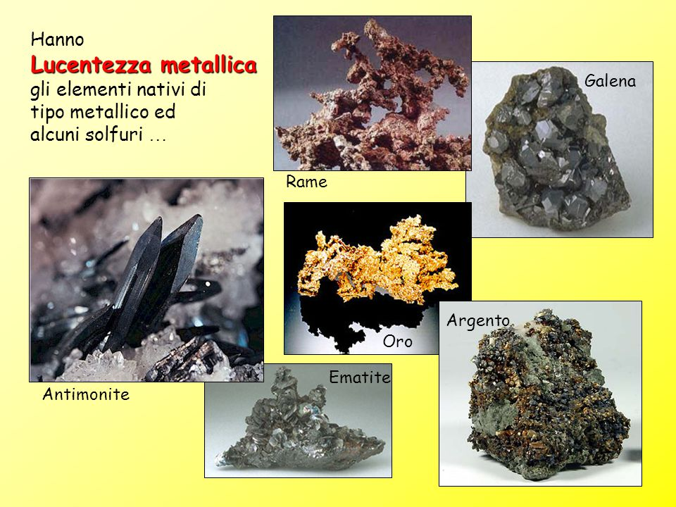 Lucentezza metallica Hanno gli elementi nativi di tipo metallico ed