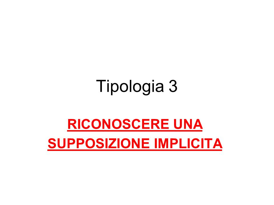 SUPPOSIZIONE IMPLICITA