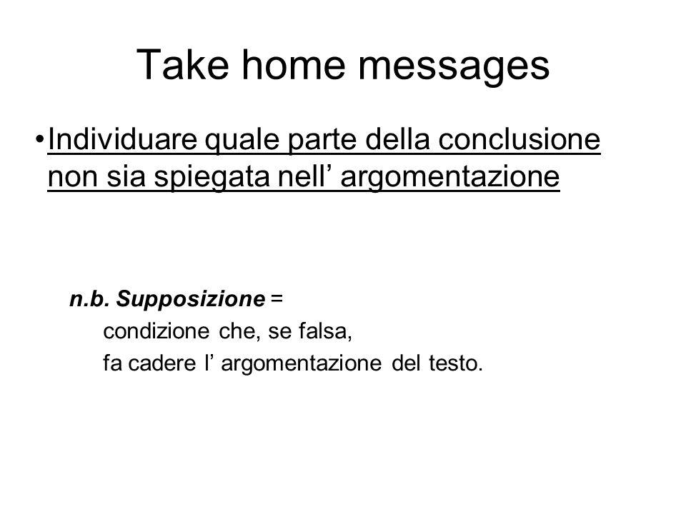 Take home messages Individuare quale parte della conclusione non sia spiegata nell' argomentazione.