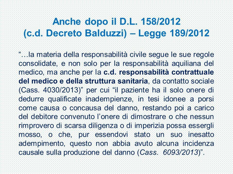 Anche dopo il D.L. 158/2012 (c.d. Decreto Balduzzi) – Legge 189/2012