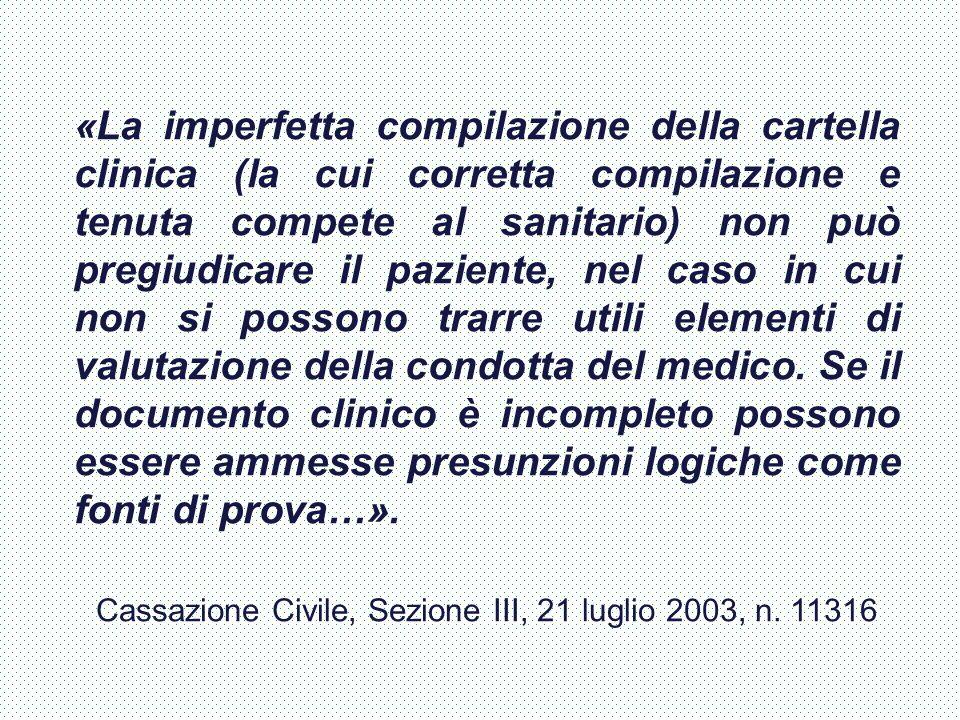 Cassazione Civile, Sezione III, 21 luglio 2003, n. 11316