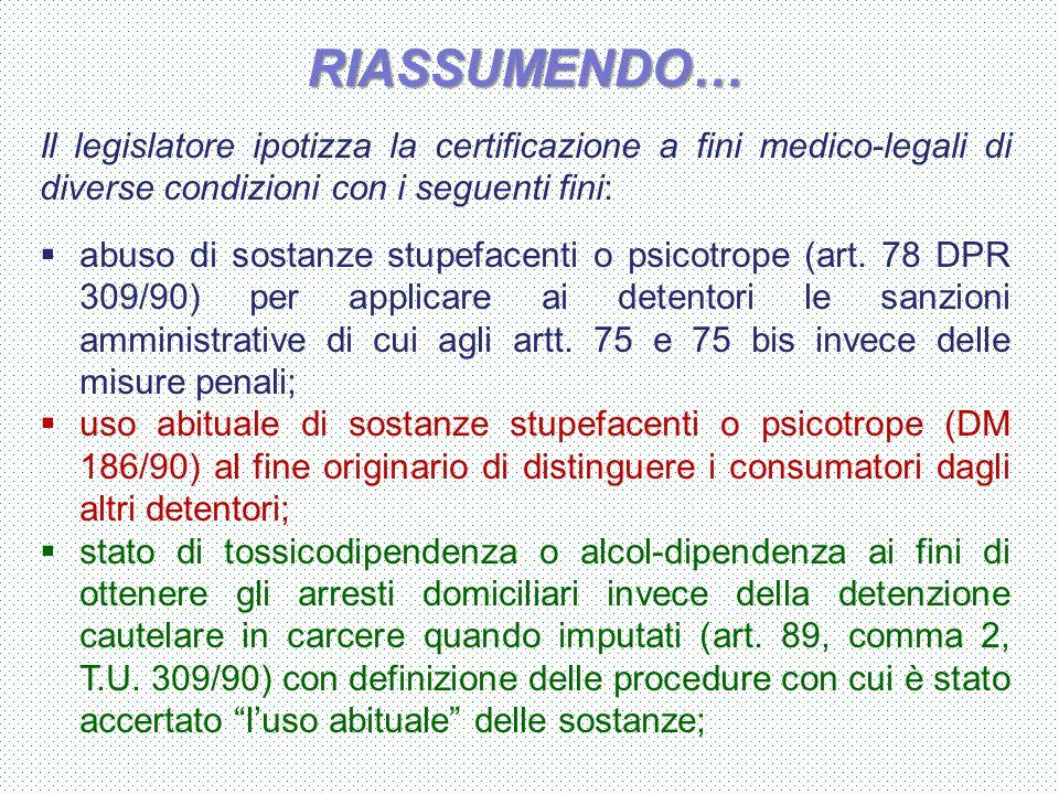 RIASSUMENDO… Il legislatore ipotizza la certificazione a fini medico-legali di diverse condizioni con i seguenti fini: