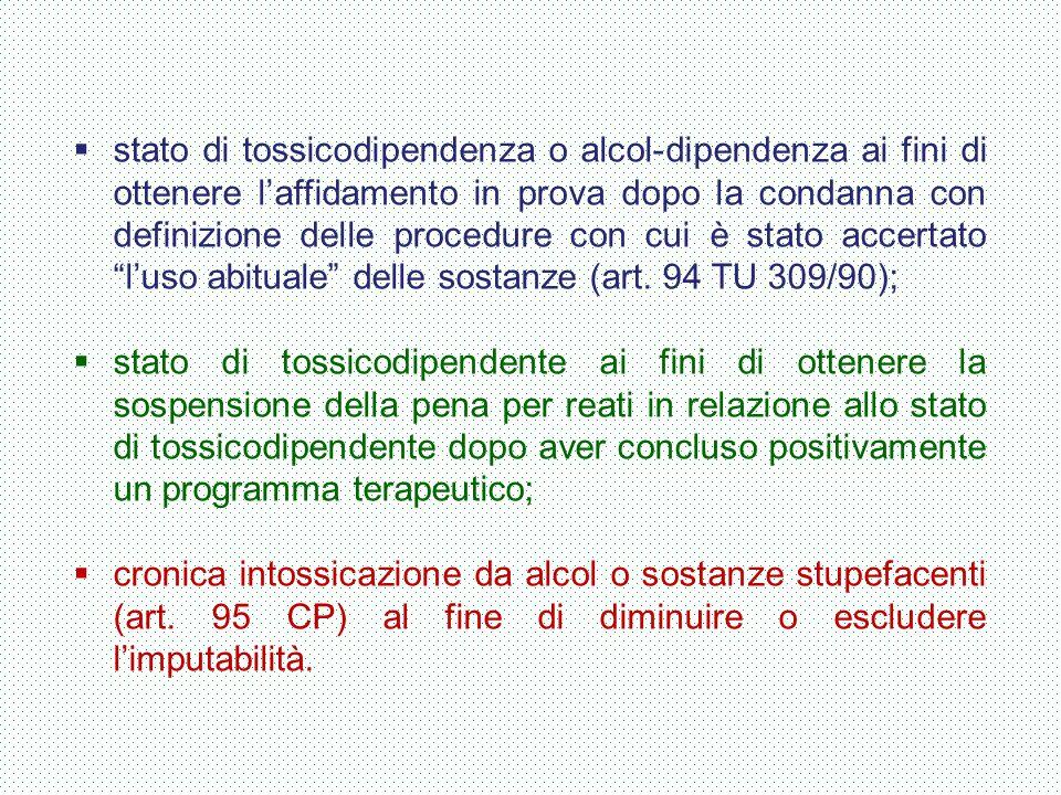 stato di tossicodipendenza o alcol-dipendenza ai fini di ottenere l'affidamento in prova dopo la condanna con definizione delle procedure con cui è stato accertato l'uso abituale delle sostanze (art. 94 TU 309/90);