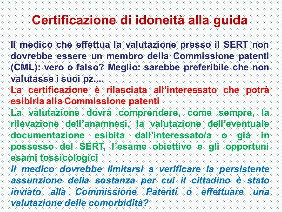 Certificazione di idoneità alla guida