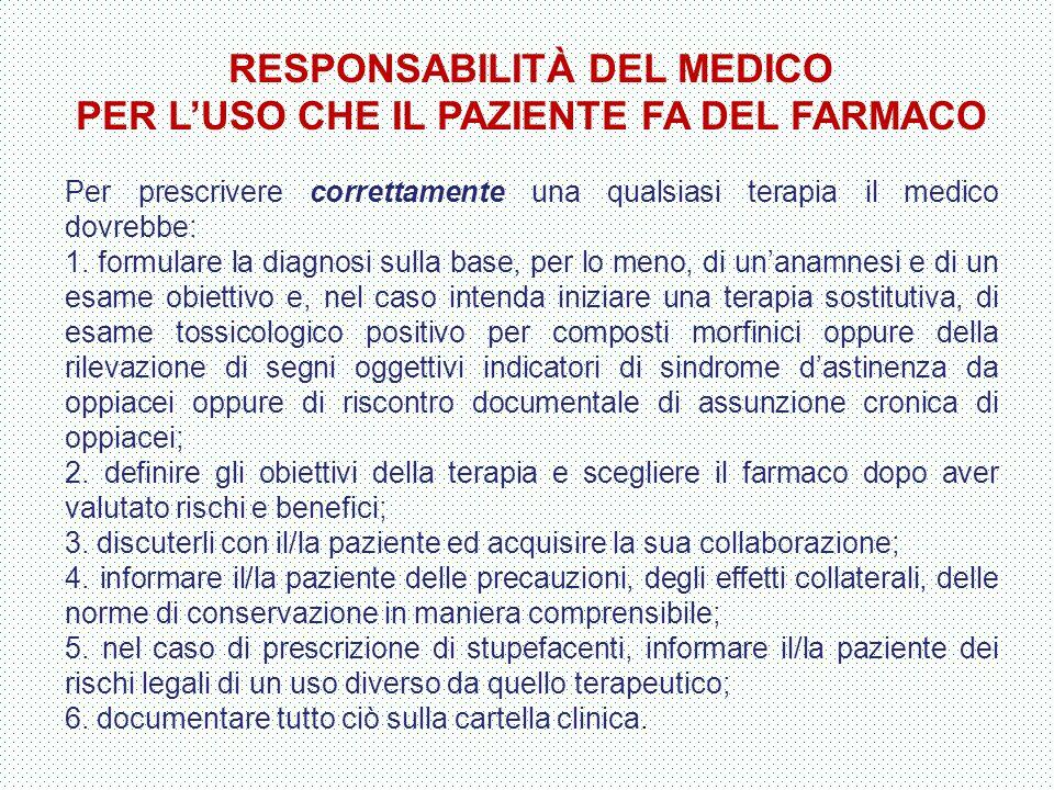 RESPONSABILITÀ DEL MEDICO PER L'USO CHE IL PAZIENTE FA DEL FARMACO