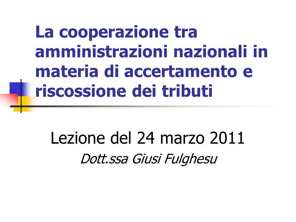 Lezione del 24 marzo 2011 Dott.ssa Giusi Fulghesu
