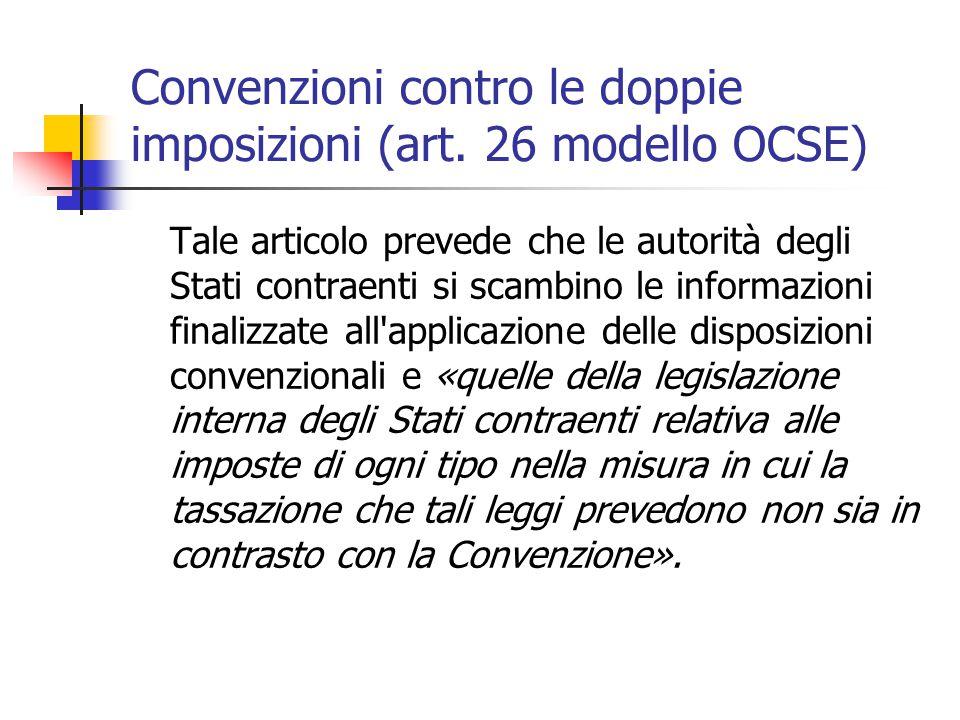 Convenzioni contro le doppie imposizioni (art. 26 modello OCSE)
