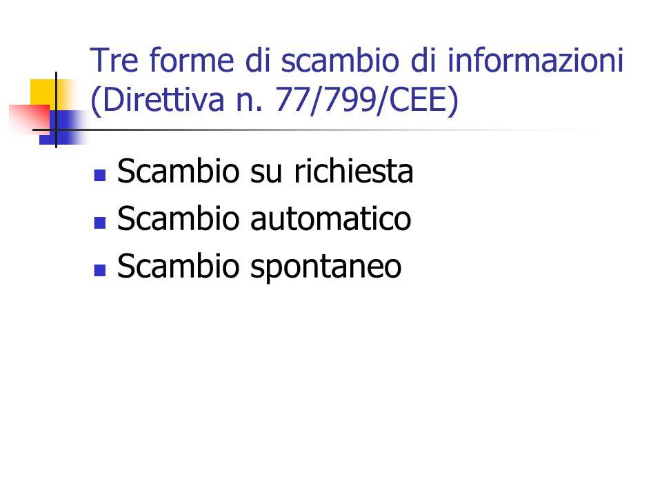 Tre forme di scambio di informazioni (Direttiva n. 77/799/CEE)