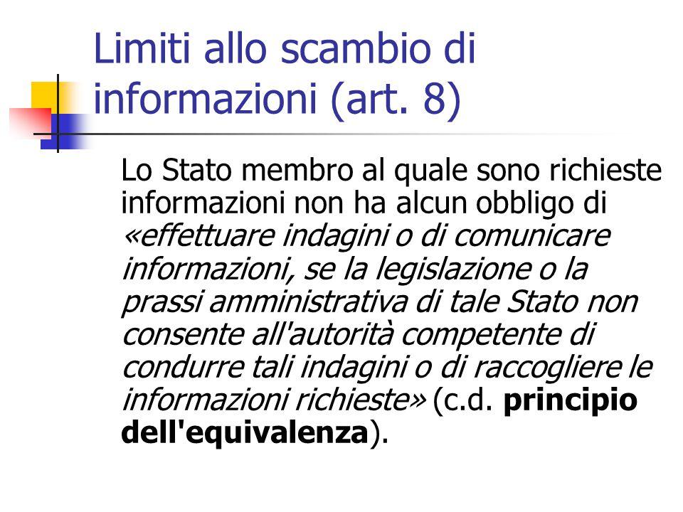 Limiti allo scambio di informazioni (art. 8)