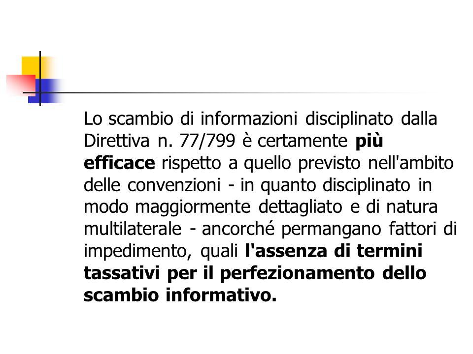 Lo scambio di informazioni disciplinato dalla Direttiva n
