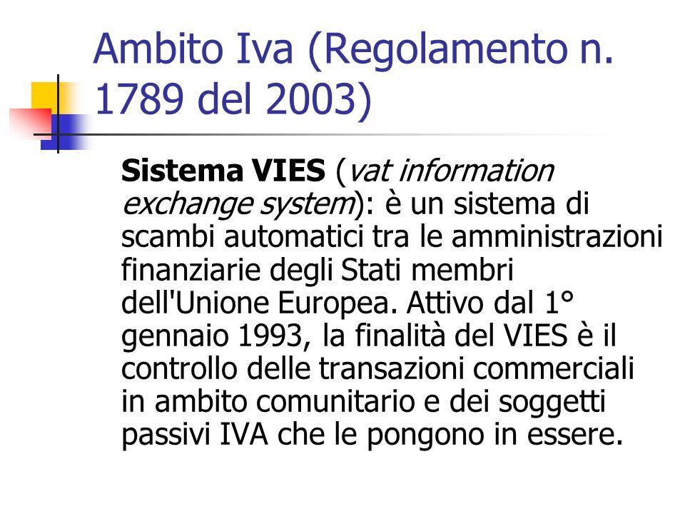 Ambito Iva (Regolamento n. 1789 del 2003)