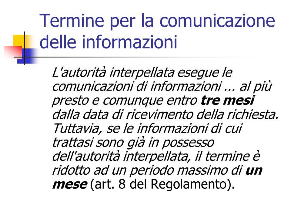 Termine per la comunicazione delle informazioni