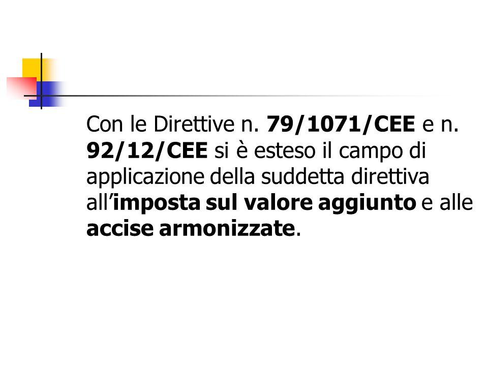 Con le Direttive n. 79/1071/CEE e n