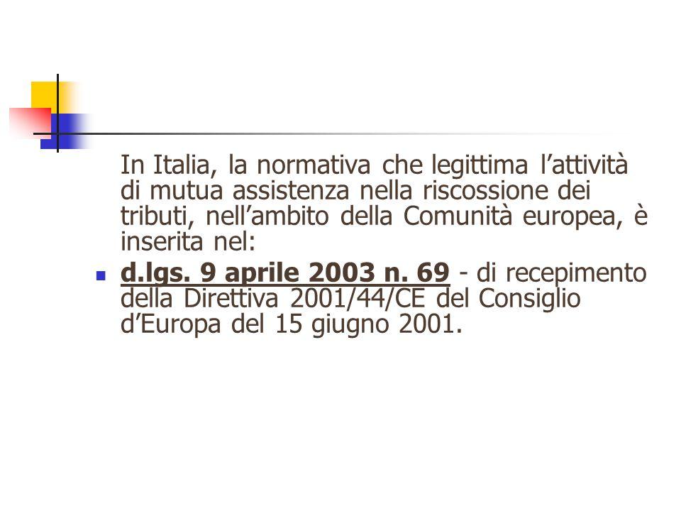 In Italia, la normativa che legittima l'attività di mutua assistenza nella riscossione dei tributi, nell'ambito della Comunità europea, è inserita nel: