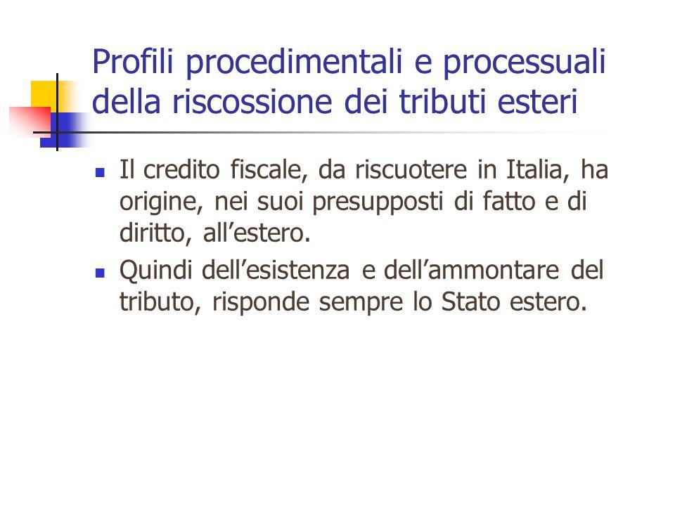 Profili procedimentali e processuali della riscossione dei tributi esteri