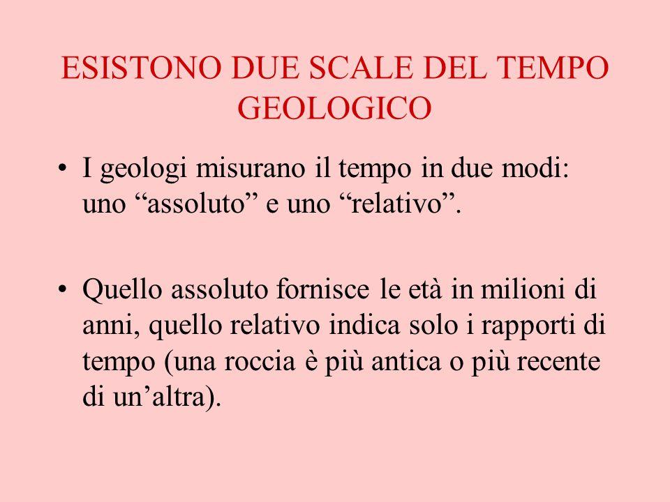 ESISTONO DUE SCALE DEL TEMPO GEOLOGICO