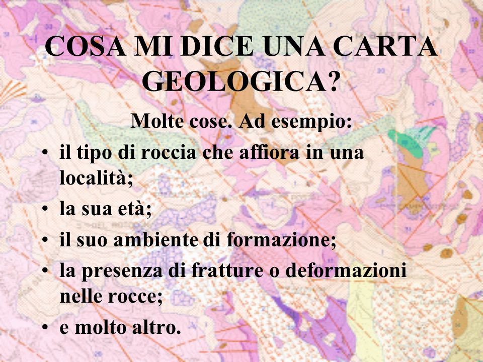 COSA MI DICE UNA CARTA GEOLOGICA