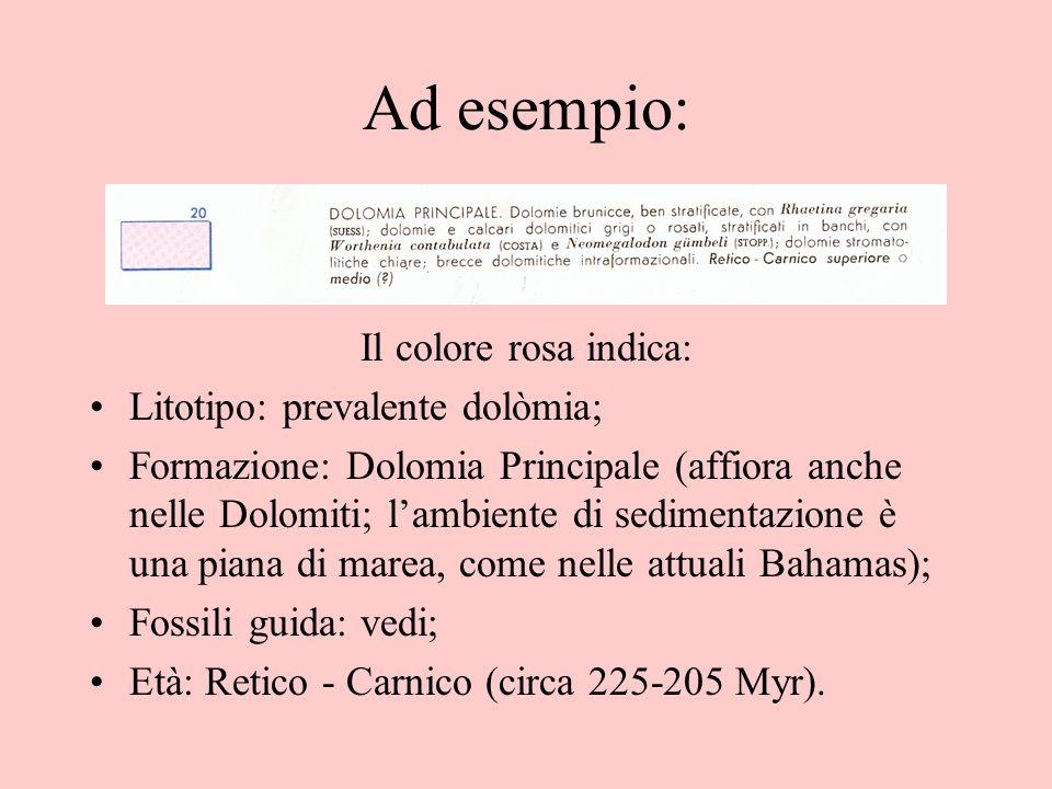 Ad esempio: Il colore rosa indica: Litotipo: prevalente dolòmia;