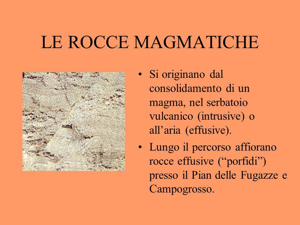 LE ROCCE MAGMATICHE Si originano dal consolidamento di un magma, nel serbatoio vulcanico (intrusive) o all'aria (effusive).