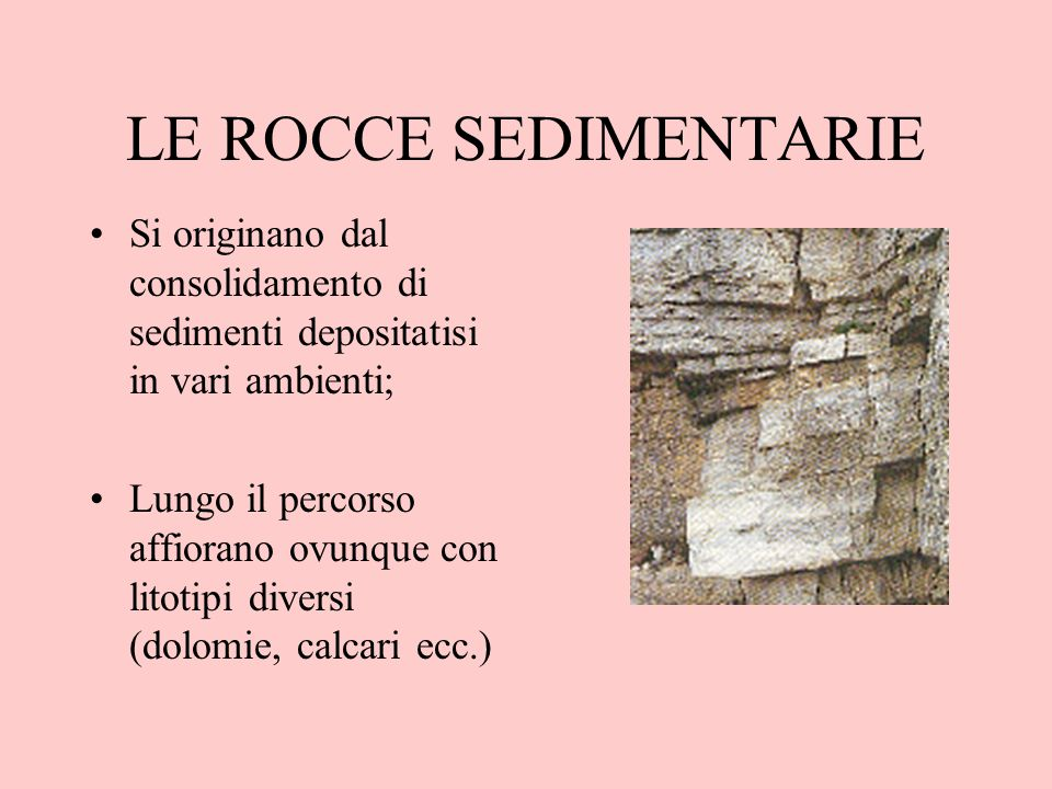 LE ROCCE SEDIMENTARIE Si originano dal consolidamento di sedimenti depositatisi in vari ambienti;