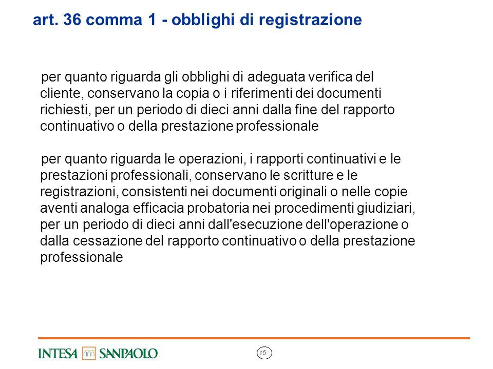 art. 36 comma 1 - obblighi di registrazione