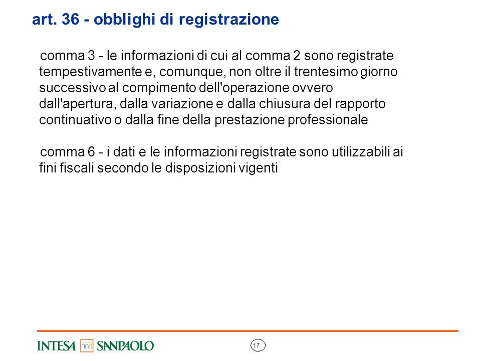 art. 36 - obblighi di registrazione