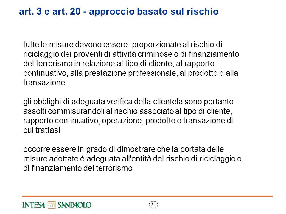art. 3 e art. 20 - approccio basato sul rischio