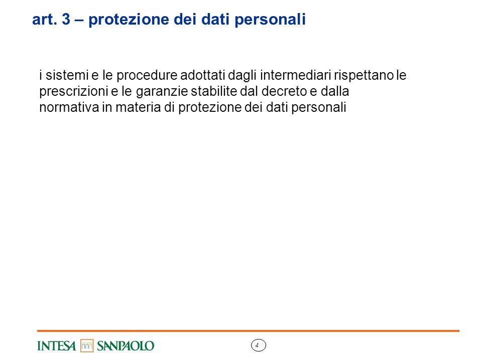 art. 3 – protezione dei dati personali