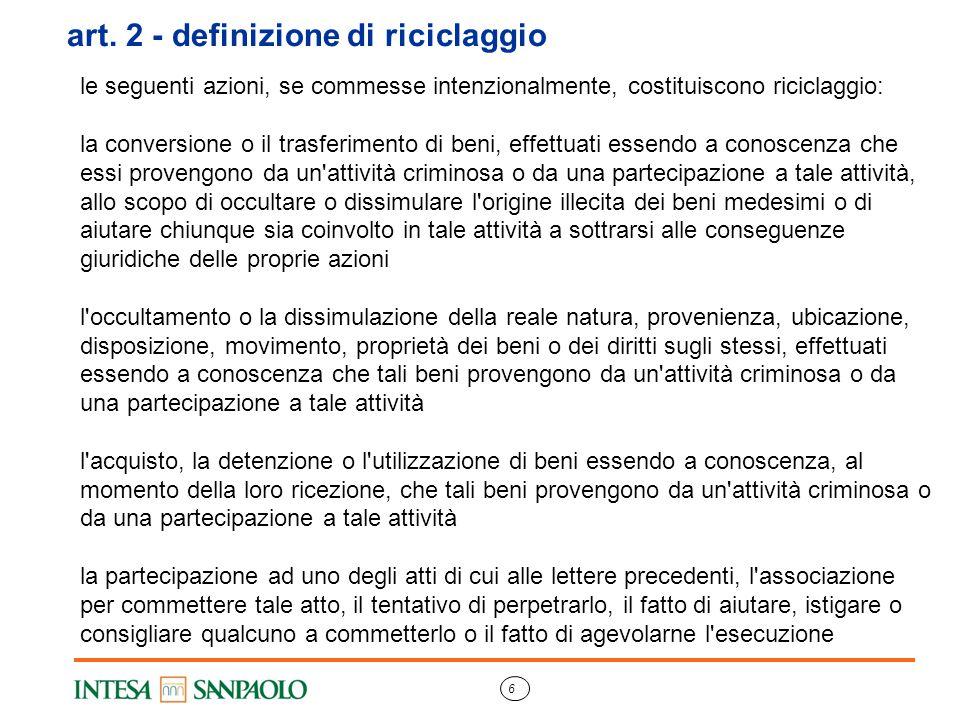 art. 2 - definizione di riciclaggio