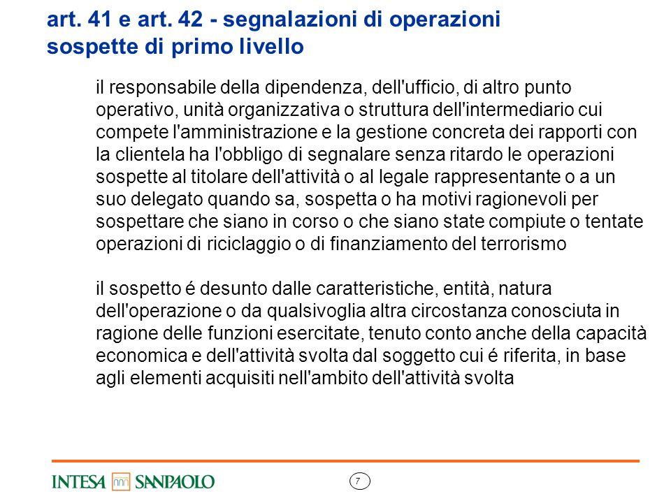 art. 41 e art. 42 - segnalazioni di operazioni