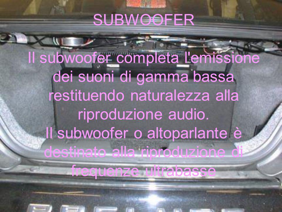 SUBWOOFER Il subwoofer completa l emissione dei suoni di gamma bassa restituendo naturalezza alla riproduzione audio.