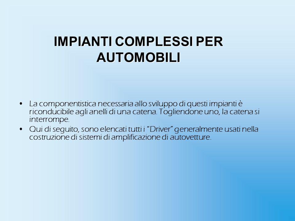 IMPIANTI COMPLESSI PER AUTOMOBILI