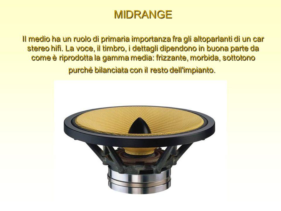 MIDRANGE Il medio ha un ruolo di primaria importanza fra gli altoparlanti di un car stereo hifi.