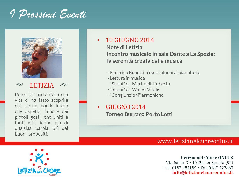 I Prossimi Eventi 10 Giugno 2014