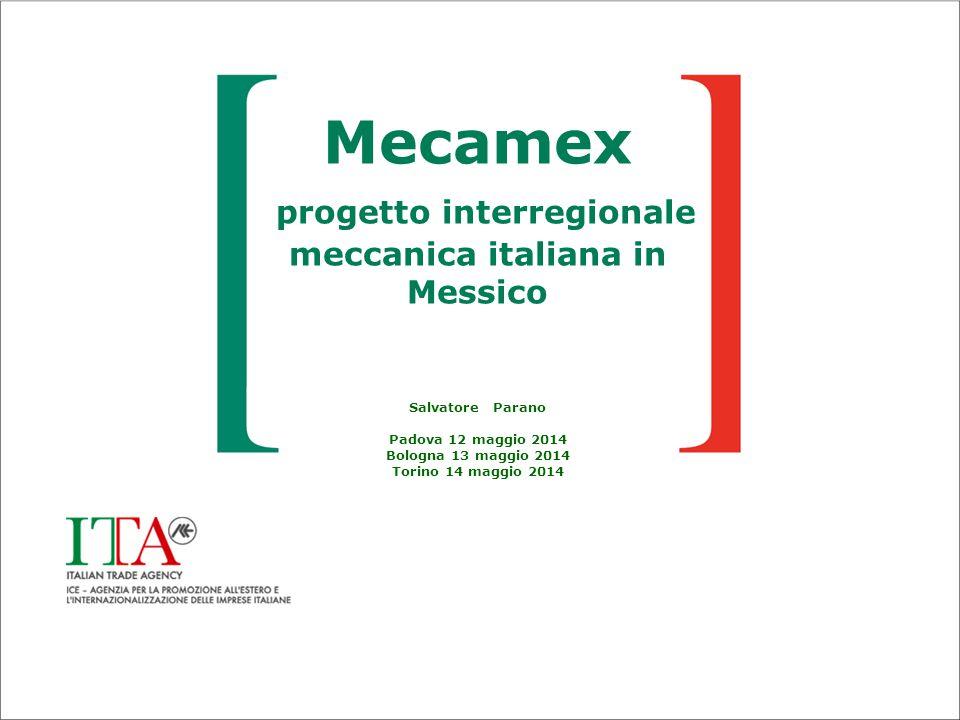 Mecamex progetto interregionale meccanica italiana in Messico Salvatore Parano Padova 12 maggio 2014 Bologna 13 maggio 2014 Torino 14 maggio 2014