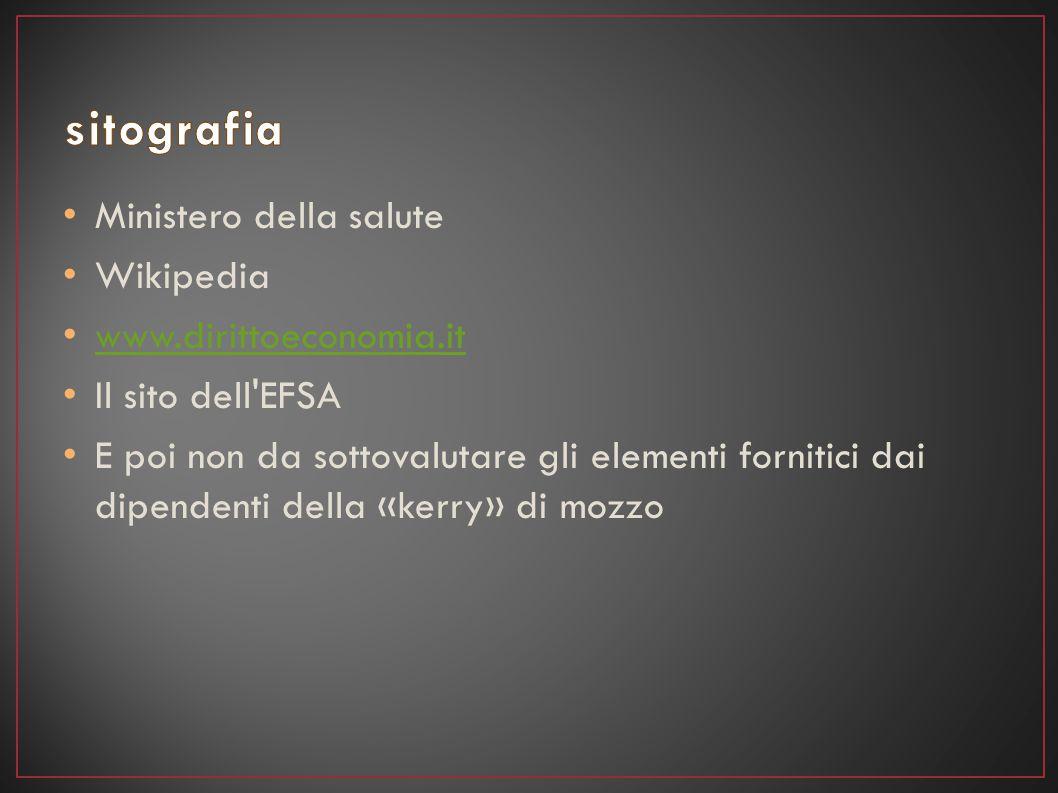 sitografia Ministero della salute Wikipedia www.dirittoeconomia.it