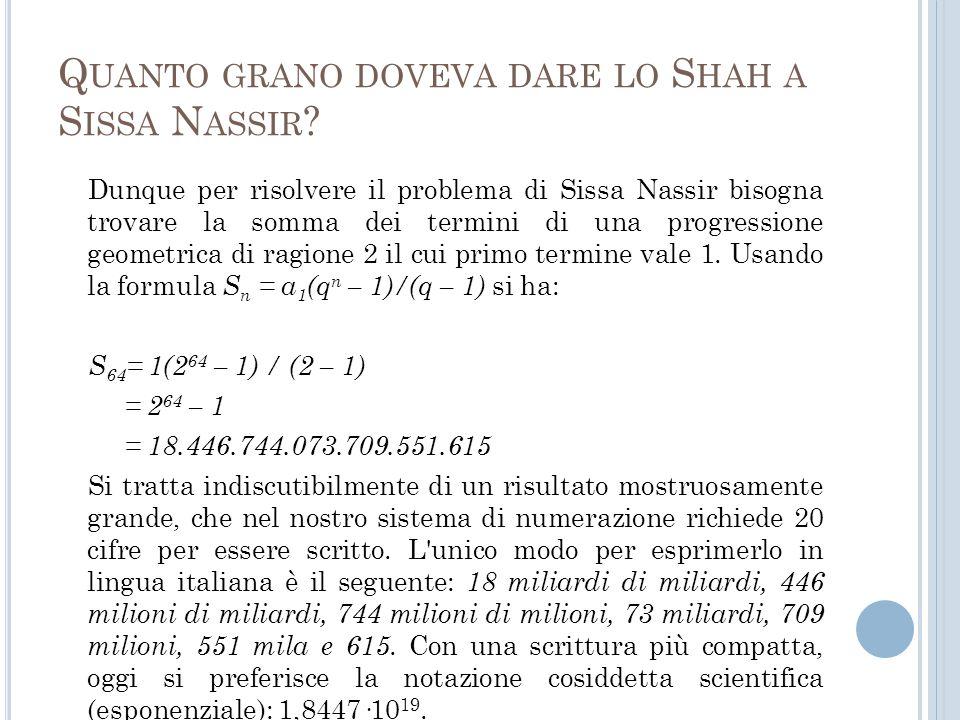Quanto grano doveva dare lo Shah a Sissa Nassir
