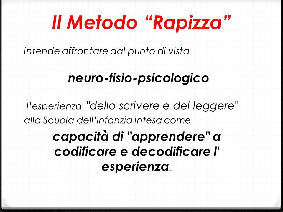 Il Metodo Rapizza intende affrontare dal punto di vista. neuro-fisio-psicologico. l'esperienza dello scrivere e del leggere