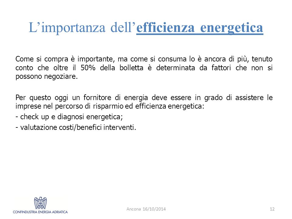 L'importanza dell'efficienza energetica