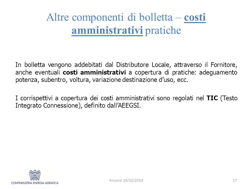 Altre componenti di bolletta – costi amministrativi pratiche
