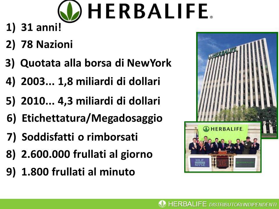 1) 31 anni! 2) 78 Nazioni. 3) Quotata alla borsa di NewYork. 4) 2003... 1,8 miliardi di dollari.