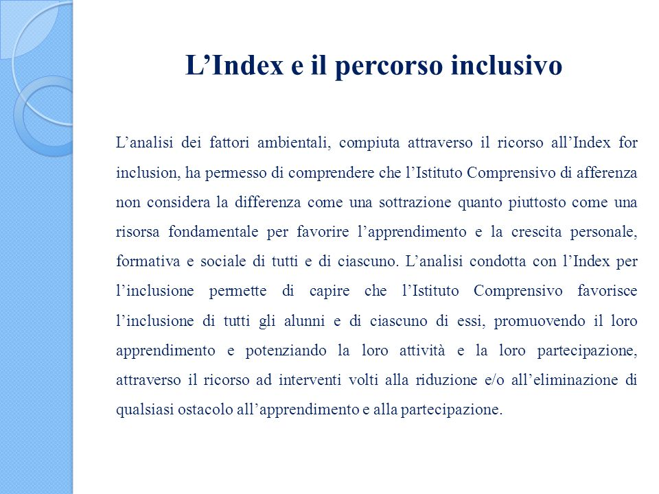L'Index e il percorso inclusivo