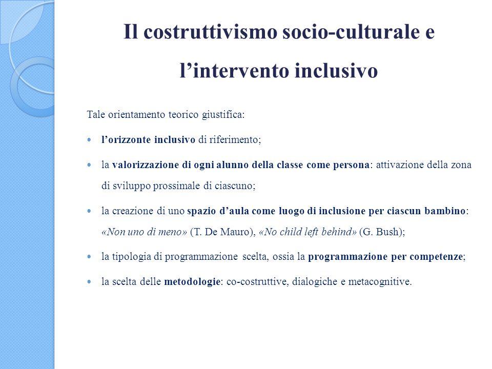 Il costruttivismo socio-culturale e l'intervento inclusivo