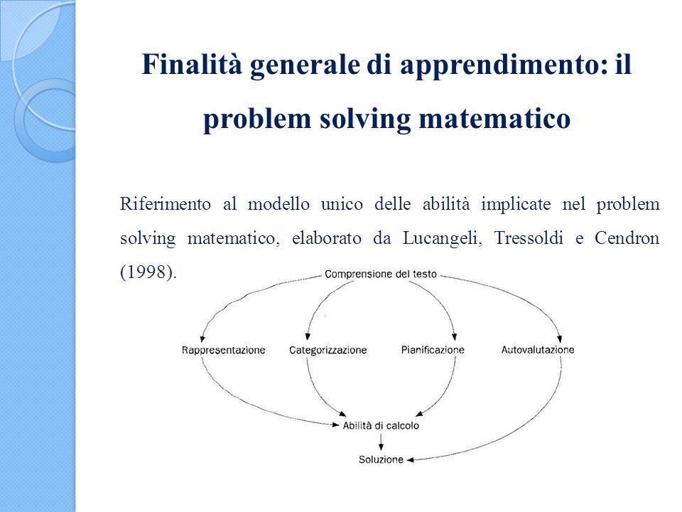 Finalità generale di apprendimento: il problem solving matematico