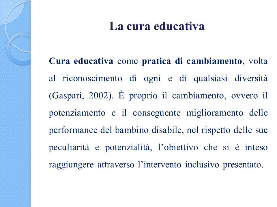 La cura educativa