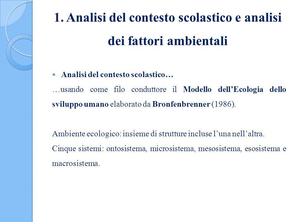 1. Analisi del contesto scolastico e analisi dei fattori ambientali